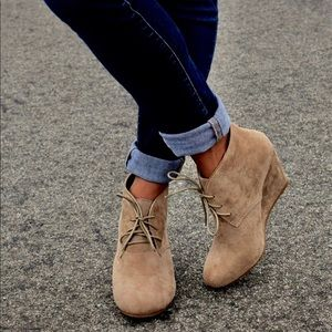 Shoes - Taupe Lace Up Wedge Heel Booties